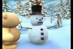 Video - das niedliche Bärchen baut einen Schneemann