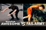 Video - Smooth Vs. Painful Skateboarders & More! - People Are Awesome Vs. FailArmy